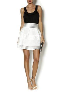 White full knee length sheer skirt