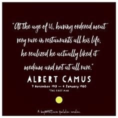 No stranger to words, his life began on 7th November, 1913. #AlbertCamus  #author #foodie #Movies #Art #Food #Chef #DJ #Creativity #HipHop #SouthAfrican #FoodPorn #Design #Creative #Ad #GraphicDesign #Advertising #Brand #Marketing #London #NewYork #Melbourne  #Instachef #SouthAfrica #AgencyLife #Music #Blogger #Books #Nanowrimo Albert Camus, Hiphop, Melbourne, Dj, November, Creativity, Advertising, Author, Graphic Design