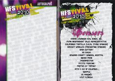 Autograph and sponsors page from HFStival 2010