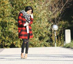 abrigo tartan / abrigo de cuadros rojo / donostia fashion blogger / en misstrece