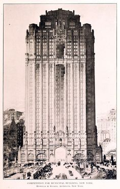 Competition design for a new Municipal Building, New York City