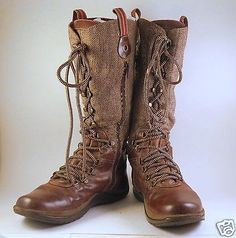 Womens-Tall-Brown-Leather-Boots-Size-8-Herringbone-Wool-Lacing-Worn-Zipper