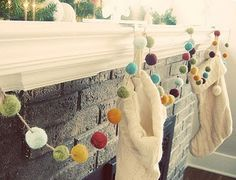 Needle Felting:  pom pom garland (scroll way down the link for instructions).  OR make tissue paper poms, OR yarn poms, OR buy the cheap craft poms