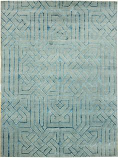 Modern DesIgn Rug    Size: 81 x 104    Hand-knotted in Nepal    Wool and silk on cotton