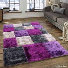 Allstar Lilac/ Grey Geometric Cube Thick High Pile Rug X Purple, Size x (Polyester) Living Room Decor Purple, Purple Rooms, Living Room Decor Cozy, Cute Room Decor, Living Room Grey, Rugs In Living Room, Purple Bathrooms, Room Ideas Bedroom, Home Decor Bedroom