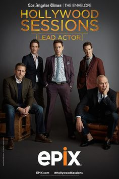 "(center) will be featured on EPIX's ""Hollywood Sessions: Lead Actors"" on Dec. (With Steve Carell, Eddie Redmayne, Benedict Cumberbatch and Michael Keaton. Robert Downey Jr, Amazon Instant Video, Steve Martin, Michael Keaton, Group Photography, Steve Carell, Marvel Films, Poses For Men, Eddie Redmayne"