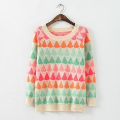 02JQ10 autumn women Fashion elegant colorful drop of water pattern pullover long sleeve knitwear Casual Slim knitted sweater