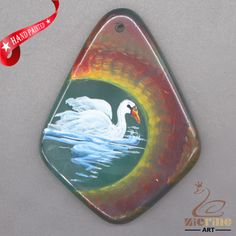 HAND PAINTED SWAN GEMSTONE JEWELRY NECKLACE PENDANT BEAD D1703 0988 #ZL #PENDANT