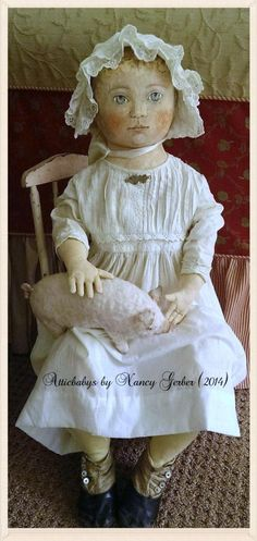 Antique Cloth Dolls | ... Folk Art oil painted doll, antique baby dress,shoes,ha t & cloth pig