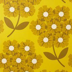 Mustard wallpaper / création Orla Kiely