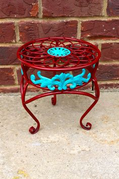 Plant Stand  Red / Aqua/ Red / Flower / Patio by AquaXpressions,