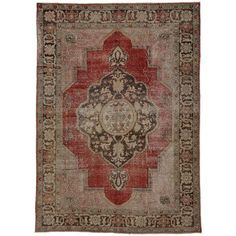 Distressed Vintage Turkish Oushak Area Rug | From a unique collection of antique and modern turkish rugs at https://www.1stdibs.com/furniture/rugs-carpets/turkish-rugs/