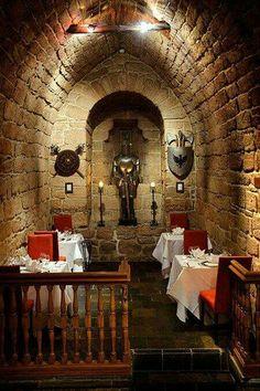 The atmospheric Dungeon Restaurant in Dalhousie Castle