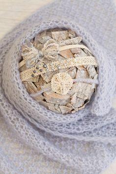 SET Knit Newborn Soft Blue Wrap & 3 Matching Tiebacks / Cotton Lace Ribbon…