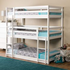 The Triple Decker triple twin bunk bed speaks for itself. Just look at Double Bunk Beds - Elites Home Decor Bunk Beds Small Room, Bunk Beds For Girls Room, Adult Bunk Beds, White Bunk Beds, Modern Bunk Beds, Cool Bunk Beds, Bunk Beds With Stairs, Bunk Rooms, Kids Bedroom Sets