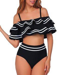 7e4b494aa0c Women 2 Piece Vintage Navy Ruched Flounce Off Shoulder Crop Top with High  Waist Bottom Bikini