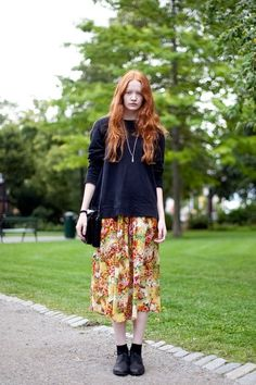 all black with floral skirt that matches hair colour #redhead