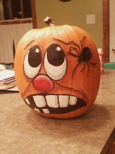 Painted pumpkin Halloween hand painted Halloween Gourds, Halloween Canvas, Halloween Rocks, Halloween Painting, Halloween Items, Halloween Crafts, Painted Pumpkins, Painted Pumpkin Faces, Halloween Train