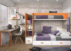 Dormitorio infantil con litera con cajones y escalera-librería.