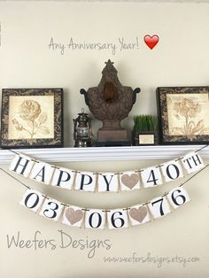 Come see my newest anniversary banner with wedding date! Perfect for celebrating any wedding anniversary! 40th Wedding Anniversary Party Ideas, 50th Anniversary Decorations, Anniversary Banner, Anniversary Ideas, Golden Anniversary, Anniversary Quotes, Birthday Ideas, Birthday Cake, Happy 40th