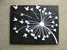 3D Butterfly Art / 3D Dandelion Art, Black & White / Childrens Room Decor…
