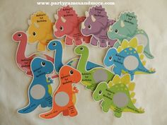 Unique Personalized Baby Shower or Birthday Party Colorful Dinosaurs Scratch off's by PARTYGAMESANDMORE