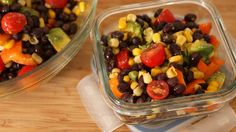 Southwestern Black Bean Salad: 1 can black beans, rinsed and drained 1 can corn 1 orange bell pepper, diced 1 cup cherry tomatoes, halved 1 avocado 1 tbsp olive oil 1 lime juiced ½ tsp chili ½ tsp cumin salt and pepper