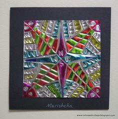 Color, collage, and much more - foil and Sharpies to make a compass design