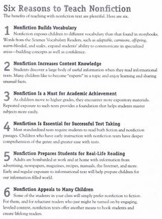 Six Reasons to Teach Nonfiction - I find number two especially true. What kid doesn't want to be an expert on something? The Titanic, dolphins, constellations... I loved getting nonfiction books.