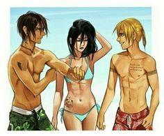 Eren, Mikasa, Armin, Attack on titan, AOT, SNK