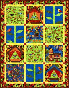"""Quilt design by Linda Fitch featuring fabrics from """"Autumn Is For Birds"""" by Jamie Fingal for Hoffman California Fabrics."""
