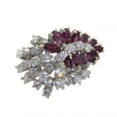 18krt witgouden fantasiering met robijnen en diamanten - Ring-robijn/diamant