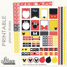 Mickey and Minnie mouse inspired PRINTABLE Planner Stickers Decorating/functional Kit for Erin Condren Planner, Filofax, Plum Paper (59)