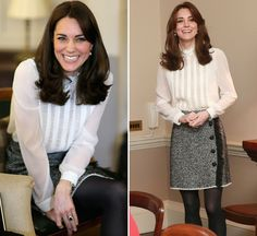 Kate Middleton was the guest editor at 'Huffington Post UK' on Feb. 17, and she opted for such a cute and laid-back outfit. The Duchess rocked a herringbone mini skirt with a white blouse and we lo...