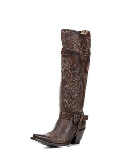 Corral Boots Women's Brown Whip Stitch & Studs Tall Top Boot - G1116 $349 6