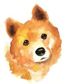 Shiba Inu in Watercolor