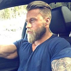 Undercut with Slick Back and Beard