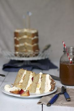 sugar and spice layer cake with peaches and cream