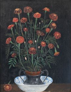 Hilding Linnqvist, Tagetes, 1920. Oil on panel. Bunch Of Flowers, Artist, Plants, Painting, Oil, Bouquet Of Flowers, Artists, Painting Art, Paintings
