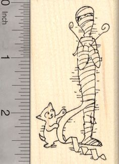 Cat Unwrapping Egyptian Mummy Rubber Stamp, Kitten Batting at Bandages, Halloween (J25522) $11 at RubberHedgehog.com