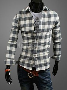 Spread Neck Shirt With Plaid Pattern - Milanoo.com