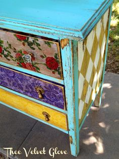 "lingerie dresser"": after spray paint, mod podge, and scrapbook"