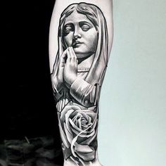 a look at some black and grey tattoos, rose tattoo, religious tattoos, greek statue tattoos, sleeve tattoos and skull tattoos. Best Sleeve Tattoos, Body Art Tattoos, Tattoo Drawings, Skull Tattoos, Arm Tattoos, Jesus Tattoo, Prayer Tattoo, Statue Tattoo, Angel Tattoo Designs