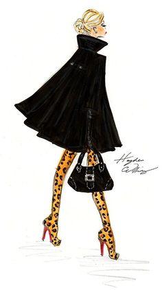 Hayden Williams cheetah, victoria secrets, fashion sketches, fashion models, cape, hayden william, leopard prints, coat, fashion illustrations