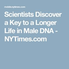 Scientists Discover a Key to a Longer Life in Male DNA - NYTimes.com