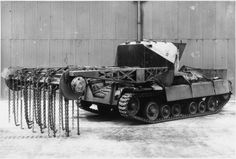 Valentine Scorpion II Mine exploder,with flail attachment. Never used operationally. Cromwell Tank, Army Times, British Armed Forces, Funny Tanks, British Army, British Tanks, Armored Fighting Vehicle, Ww2 Tanks, Historical Pictures