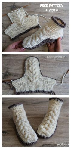 Knit Women Cable Slipper Boots Free Knitting Pattern + Video - Knitting PatternGreat project for beginners too: knitted potholders! Cable Knitting Patterns, Loom Knitting, Knitting Stitches, Knitting Socks, Knit Patterns, Baby Knitting, Knitting Buttonholes, Free Knitting Patterns For Women, Easy Patterns