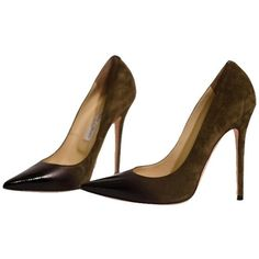 Pre-owned Jimmy Choo 'anouk' Degrade Olive Suede / Black Patent Pumps (8.570.835 IDR) ❤ liked on Polyvore featuring shoes, pumps, black patent pumps, suede pointy toe pumps, black patent leather pumps, suede pointed toe pumps and pointed toe pumps