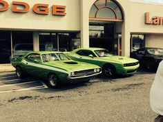 1971 and  2015 Dodge Challenger.