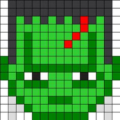 Frankenstein_Sprite by Dpq on Kandi Patterns Pixel Art Templates, Perler Bead Templates, Diy Perler Beads, Perler Bead Art, Fuse Bead Patterns, Perler Patterns, Beading Patterns, Kandi Patterns, Beaded Cross Stitch